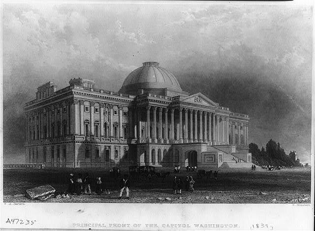 Principal front of the Capitol, Washington / W.H. Bartlett, R. Brandard.