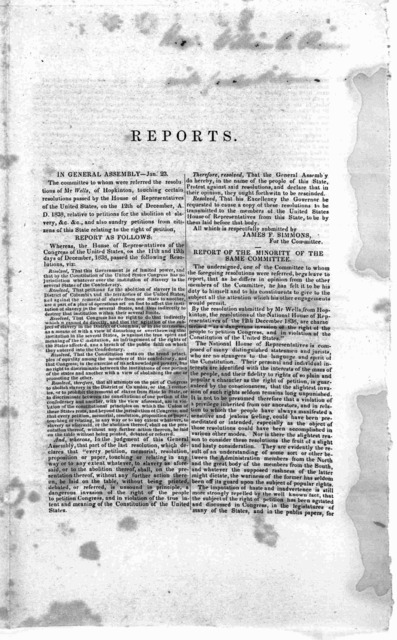 Rhode Island Legislature. January session 1839. Reports of the select committee to whom were referred the resolutions of Mr. Wells, of Hopkington, touching certain resolutions of the House of representatives of the U. States relating to petition