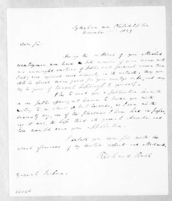Richard Rush to Andrew Jackson, November 21, 1839