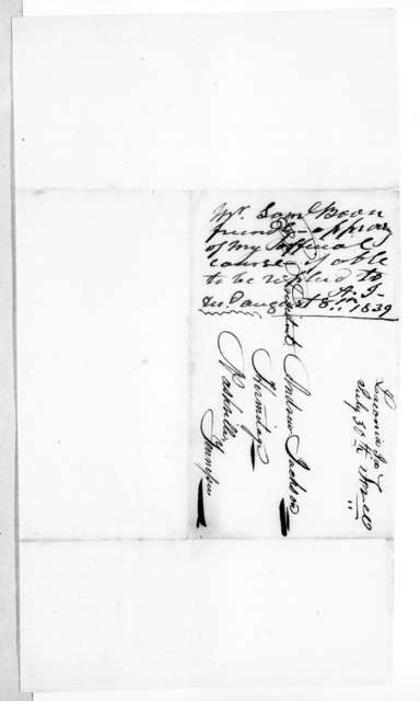 Samuel Boone to Andrew Jackson, July 29, 1839
