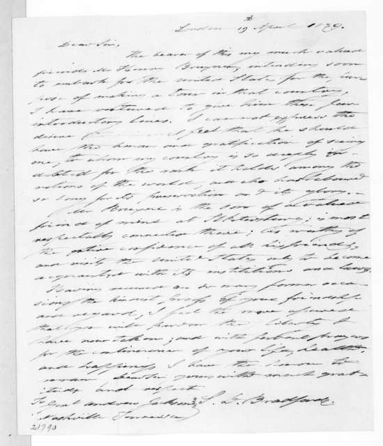 Samuel D. Bradford to Andrew Jackson, April 19, 1839