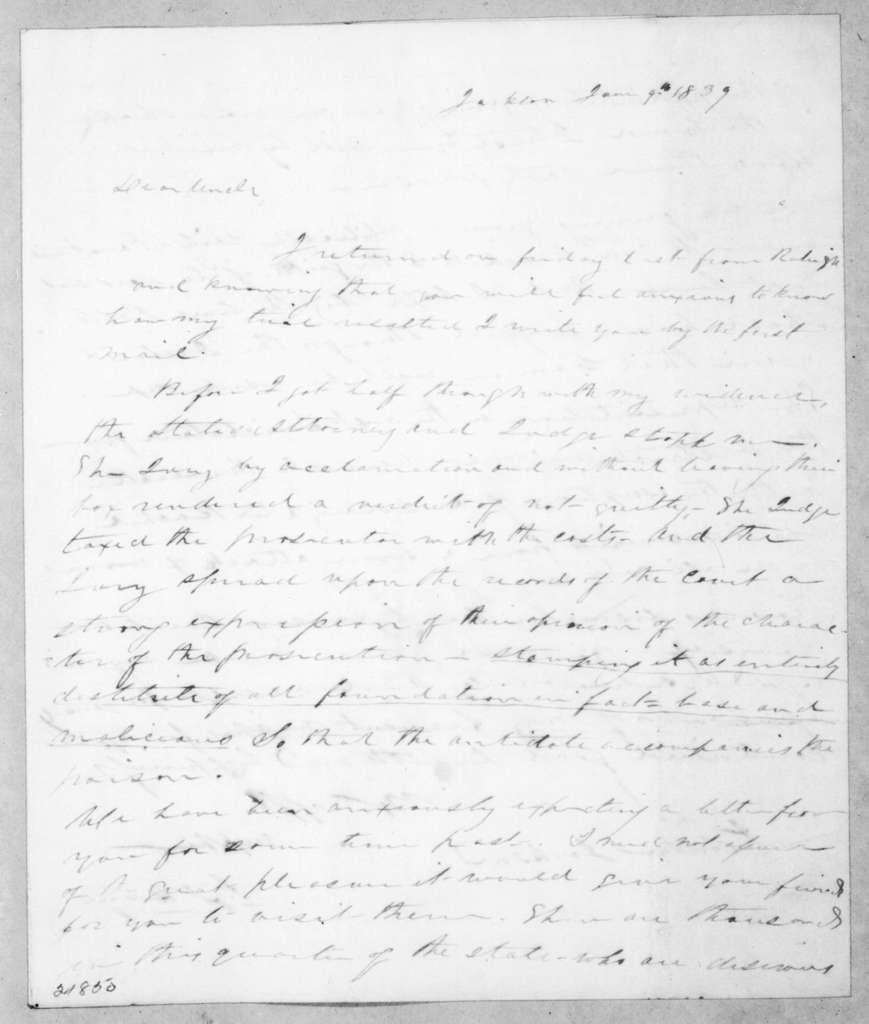 Samuel Jackson Hays to Andrew Jackson, June 9, 1839