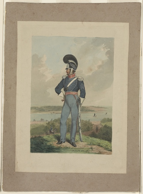 [Soldier from the First City Troop, Philadelphia, in uniform and helmet with a plume, standing on a bluff over looking a river, perhaps the Schuylkill or the Delaware] / J.R. Smith, 1839, Phila.