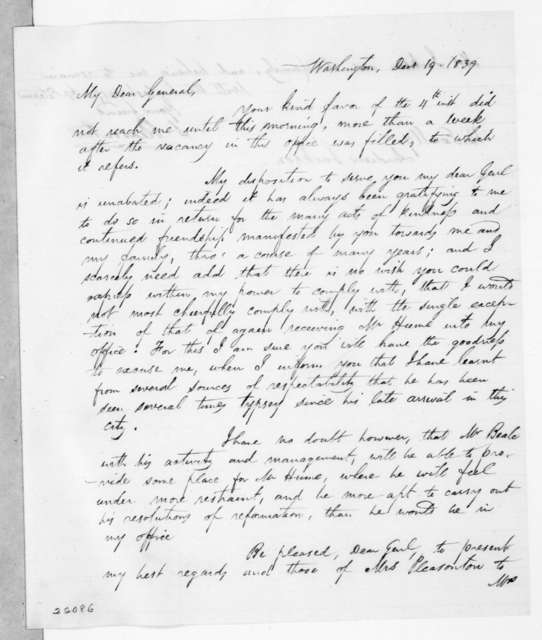Stephen Pleasanton to Andrew Jackson, December 19, 1839