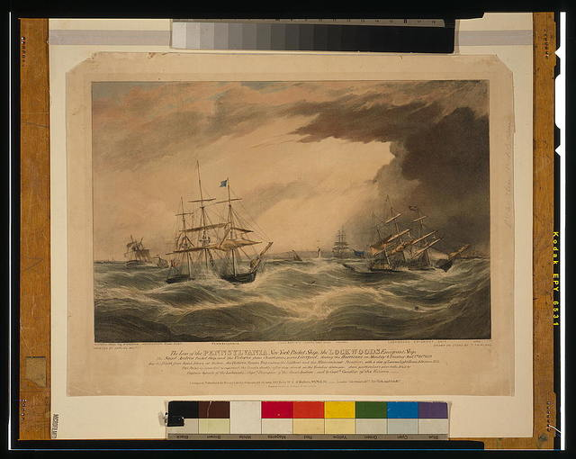 The loss of the Pennsylvania New York packet ship; the Lockwoods emigrant ship; the Saint Andrew packet ship; and the Victoria from Charleston, near Liverpool, during the hurricane [...] Jany. 7th & 8th, 1839 / painted by Samuel Walters ; drawn on stone by T. Fairland.