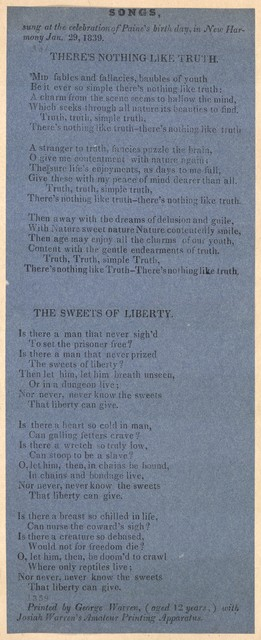There's nothing like truth. Printed by George Warren, (aged 12 years) with Josiah Warren's Amateur Printing Apparatus. 1839