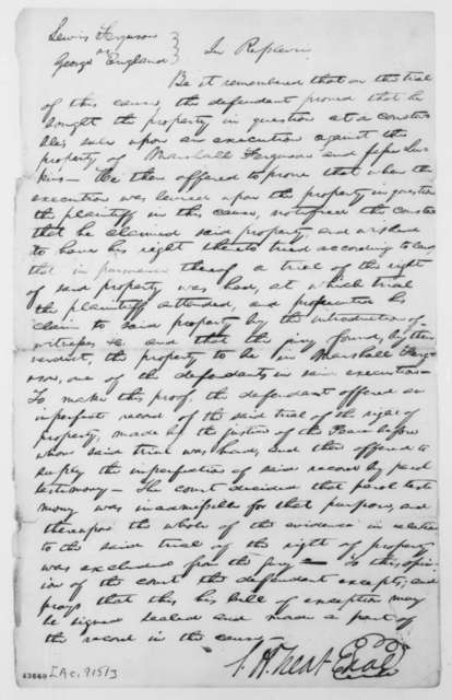 [Abraham Lincoln], [June 1840]  (Bill of Exceptions in case of Lewis Ferguson vs. George England; signed by Samuel H. Treat)