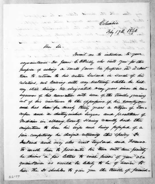 Alfred Osborn Pope Nicholson to Andrew Jackson, February 17, 1840