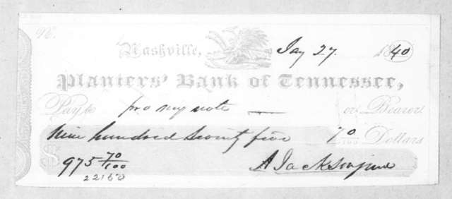 Andrew Jackson, Jr. to Planters Bank of Tennessee, January 27, 1840