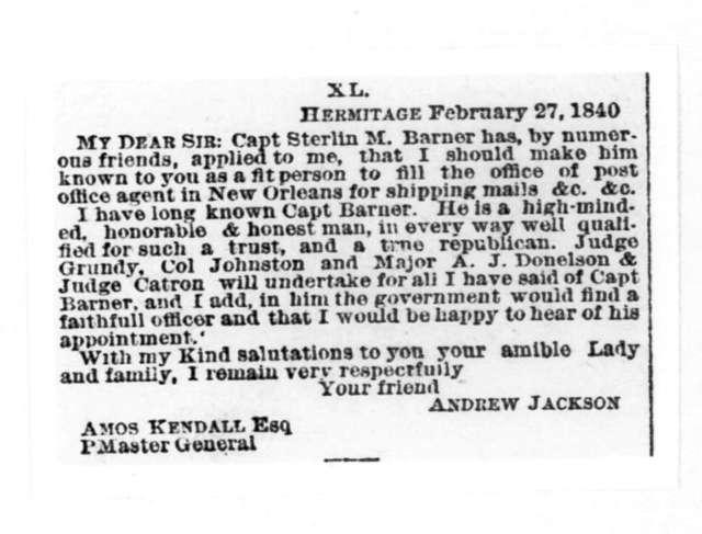 Andrew Jackson to Amos Kendall, February 27, 1840