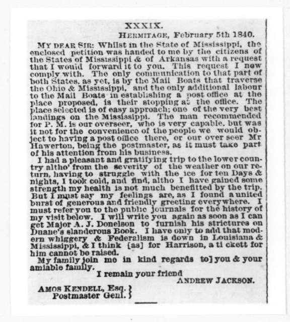 Andrew Jackson to Amos Kendall, February 3, 1840