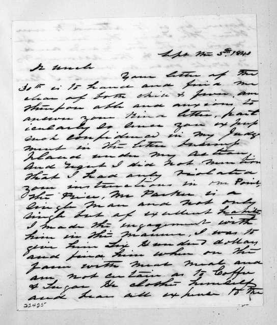 Andrew John Hutchings to Andrew Jackson, September 5, 1840