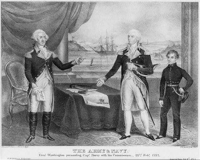 Army & Navy. Genl. Washington presenting Capt. Barry with his Commission - 22nd Febr. 1797