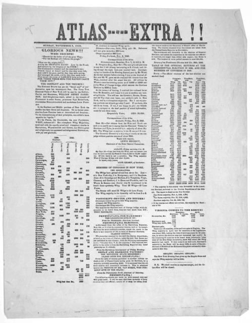 Atlas ----- Extra !! Sunday, November 8, 1840. Glorious news!!! Whig triumph.