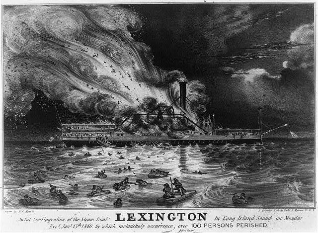 Awful conflagration of the steam boat Lexington in Long Island Sound on Monday eveg., Jany. 13th 1840, by which melancholy occurence; over 100 persons perished / drawn by W.K. Hewitt ; N. Currier. lith. & pub., N.Y.