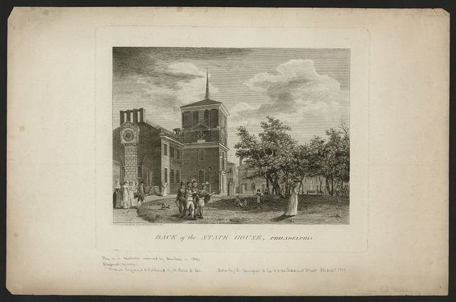 Back of the State House, Philadelphia / designed & published by W. Birch enamel painter, 1800.