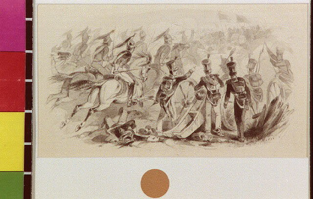 [Battle scene with charging cavalry and artillery]