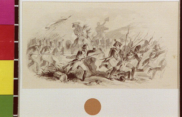 [Battle scene with line of bayonets]