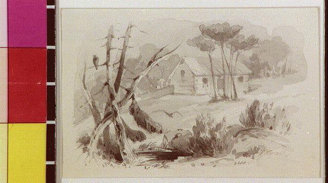 [Cabin in landscape]