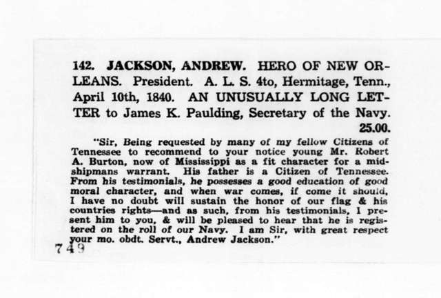 "Clippings from the ""American Clipper"", May 1935. Announcing the sell of a April 10, 1840 letter from Andrew Jackson to James K. Paulding. April 10, 1840"