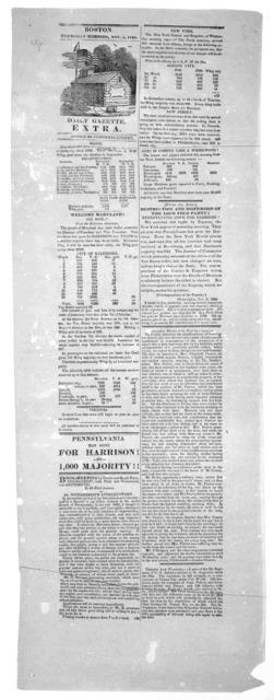 Daily Gazette Extra. Boston, Thursday morning. Nov. 5, 1840.