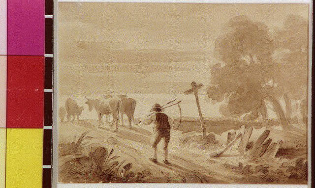 [Farmer with scythe walking down road after livestock]