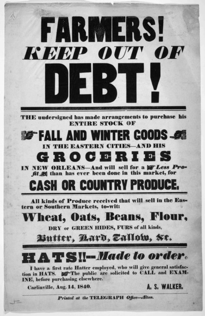 Farmer's! keep out of debt! The undersigned has made arrangements to purchase his entire stock of fall and winter goods in the eastern cities - and his groceries in New Orleans - and will sell for a less profit than has ever been done in this ma