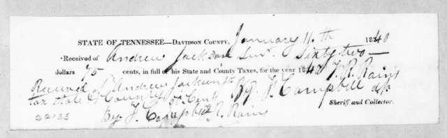 Felix Robertson Rains to Andrew Jackson, January 11, 1840