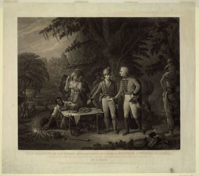 Gen. Marion in his swamp encampment inviting a British officer to dinner / Painted by John B. White; Engraved by John Sartain.