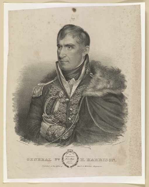 General Wm. H. Harrison of Tippecanoe, Fort Meigs and the Thames / on stone by James Queen, P.S. Duval, lith., Phila.