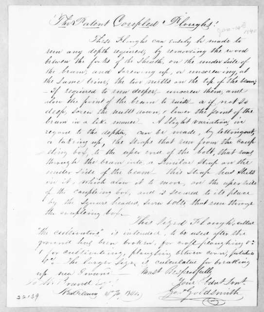 George Goldsmith to William Brand, January 14, 1840