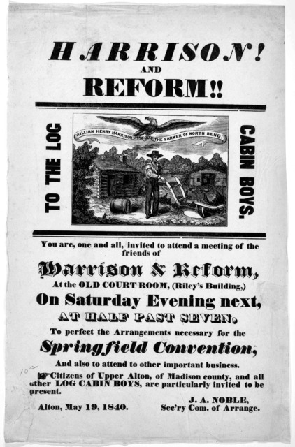 Harrison! and reform!! To the Log cabin boys. You are, one and all, invited to attend a meeting of the friends of Harrison & reform, at the Old court room, (Riley's building,) on Saturday evening next, at half past seven, to perfect the arrangem