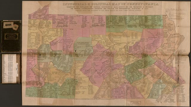 Industrial & political map of Pennsylvania : exhibiting the population, the principal resources of each county, and the valuation of property, the several congressional districts, and the vote for presidential electors in 1840.