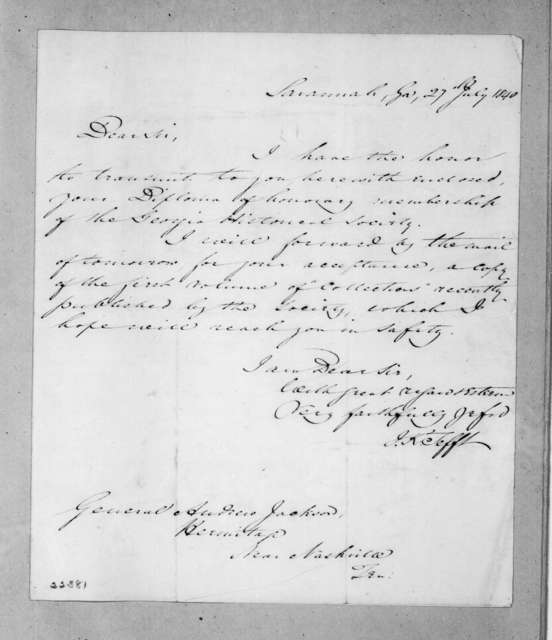 Israel Kerch Tefft to Andrew Jackson, July 27, 1840