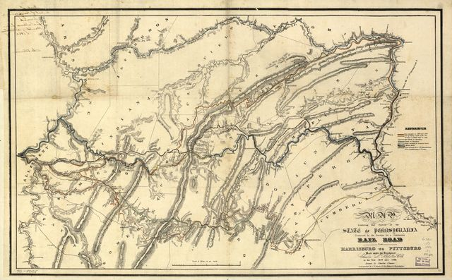 Map exhibiting that portion of the State of Pennsylvania traversed by the surveys for a continuous rail road from Harrisburg to Pittsburg made under the direction of Charles L. Schlatter, c.e. in the year 1839 and 1840.