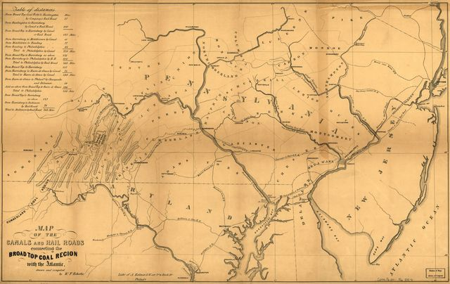 Map of the canals and rail roads connecting the Broad Top Coal Region with the Atlantic.