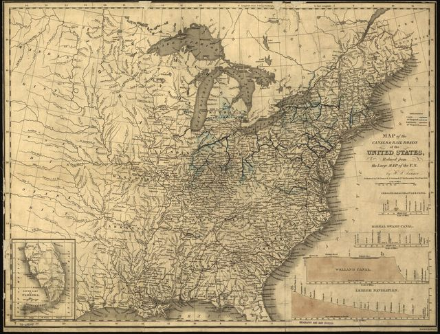 Map of the canals & rail roads of the United States, reduced from the large map of the U.S.; engraved by J. Knight.