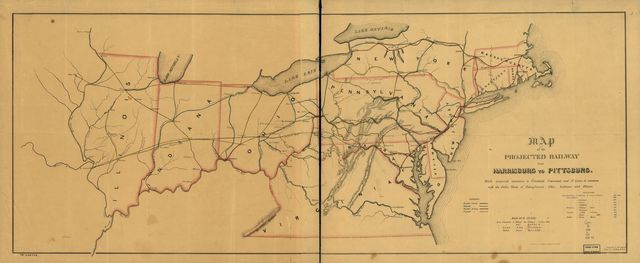 Map of the projected railway from Harrisburg to Pittsburg [sic] with proposed extensions to Cleveland, Cincinnati and St. Louis, in connexion [sic] with the public works of Pennsylvania, Ohio, Indiana and Illinois /