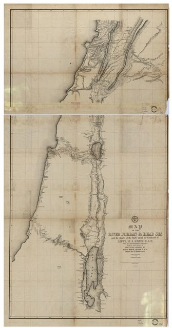 Map of the River Jordan & Dead Sea : and the route of the party under the command of Lieut. W.F. Lynch, U.S.N. under his superintendence constructed from the joint labours of Lieut. Dale & himself by Passd. Midn. R. Aulick U.S.N. /