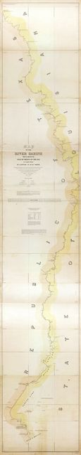 Map of the River Sabine from its mouth on the Gulf of Mexico in the sea to Logan's Ferry in latitude 31°58ʹ24ʺ north : shewing the boundary between the United States and the Republic of Texas between said points : as marked and laid down by survey in 1840, under the direction of the Commissioners appointed for that purpose /
