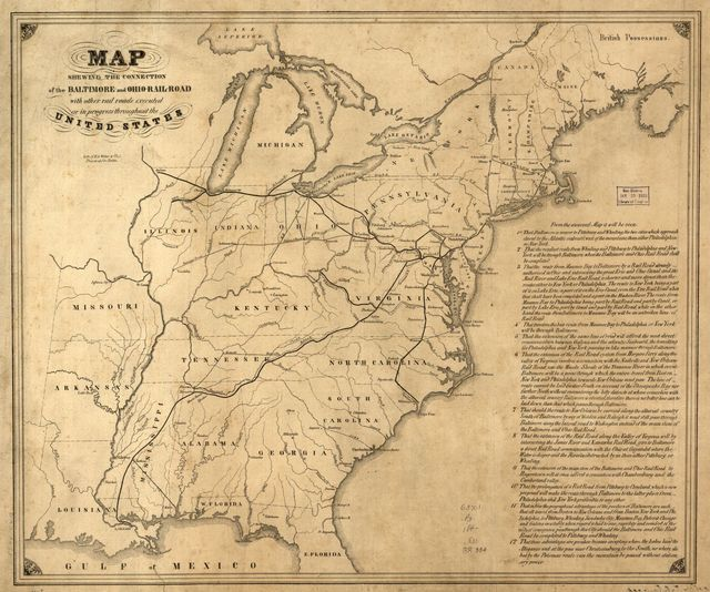 Map shewing the connection of the Baltimore and Ohio-Rail-Road with other rail roads executed or in progress throughout the United States.