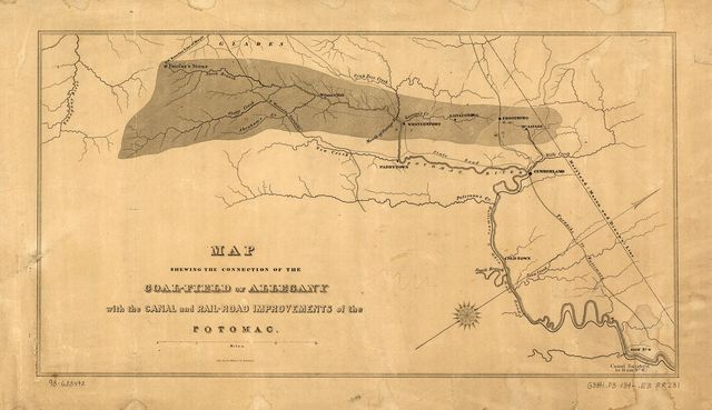 Map showing the connection of the coal-field of Allegany with the canal and rail-road improvements of the Potomac.