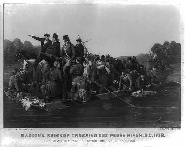 Marion's brigade crossing the Pedee River, S.C.. 1778. On their way to attack the British force under Tarleton