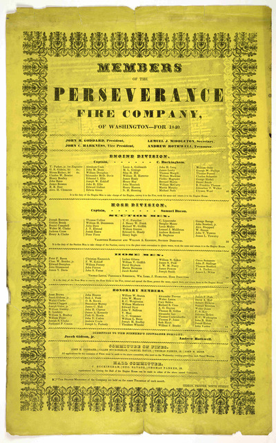 Members of the Perseverance fire company, of Washington - for 1840. Gideon printer, Ninth street.