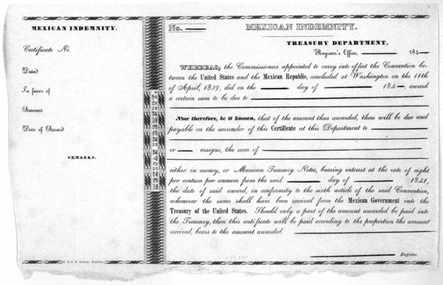Mexican indemnity. Treasury department. Register's office, ---------- 184 --- Whereas, the Commissioners appointed to carry into effect the Convention between the United States and the Mexican Republic, concluded at Washington on the 11th of Apr