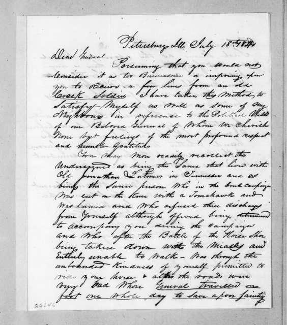 Nathaniel Latimer to Andrew Jackson, July 18, 1840
