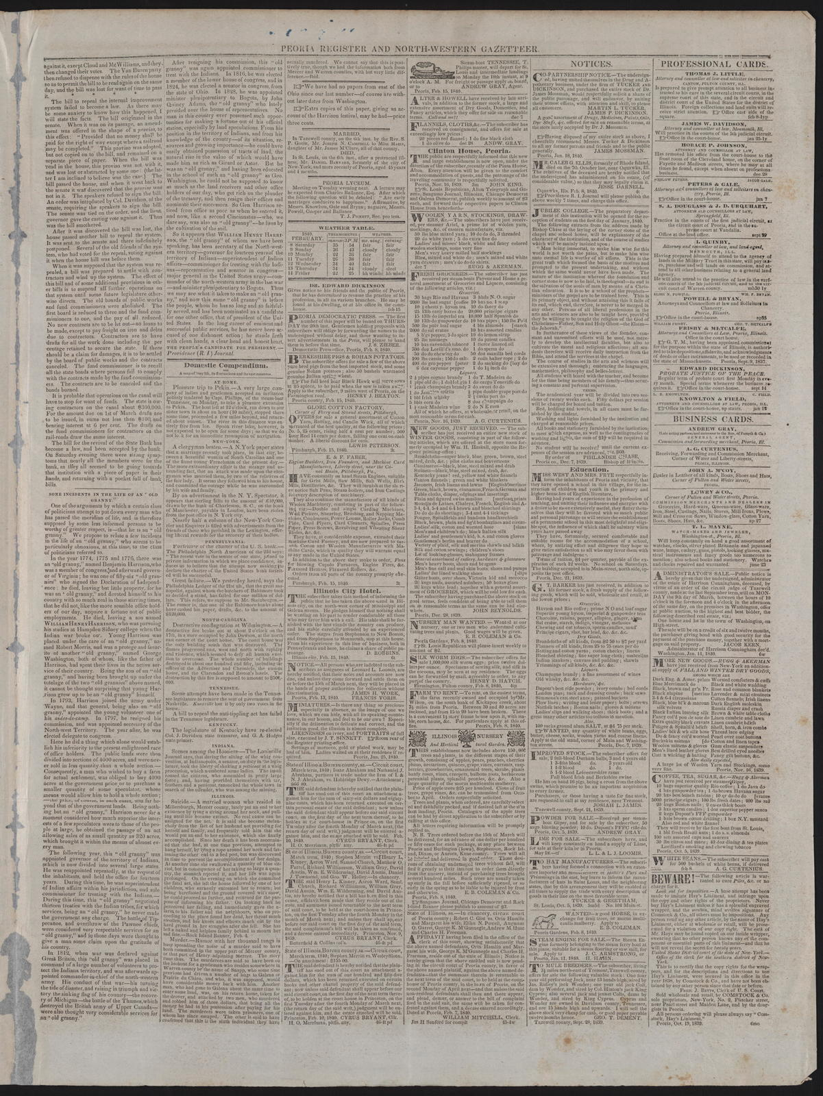 Peoria Register and North-Western Gazetteer, [newspaper]. February 15, 1840.