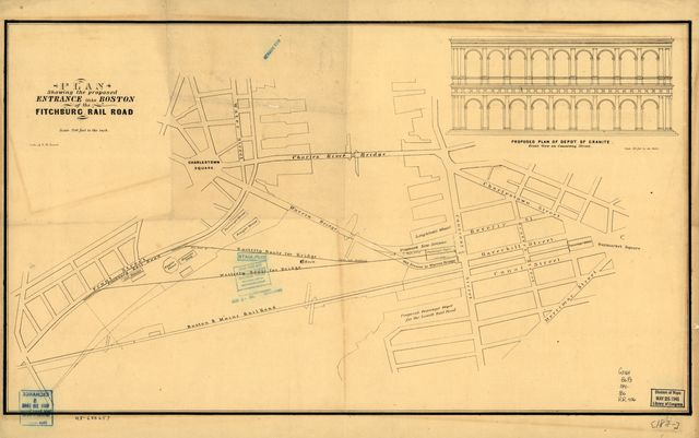 Plan showing the proposed entrance into Boston of the Fitchburg Rail Road.