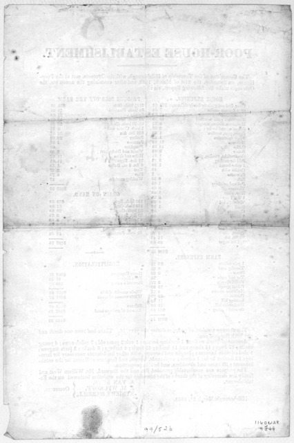 Poor-house establishment. The committee of the Township of Hillsborough, with the overseers, met at the Poor-house, on Saturday, the 21st of March, 1840, and after examining the accounts, the overseers make the following report, viz: ... Hillsbo