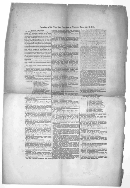 Proceedings of the Whig state convention, at Worcester, Mass., June 17, 1840.
